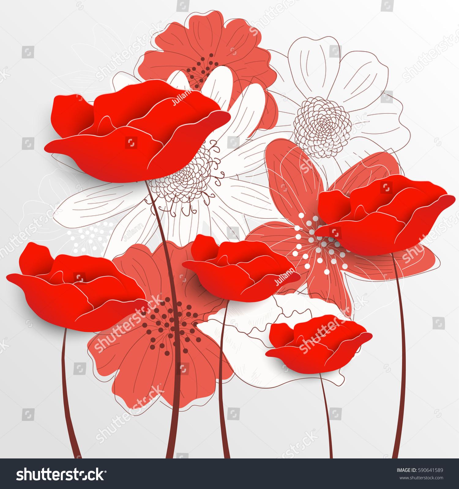 Retro Floral Background Decorative Flowers Romantic Stock Vector