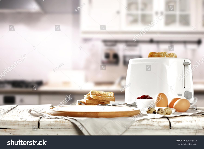 Hot Morning White Kitchen Fresh Toast Stock Photo (Royalty Free ...