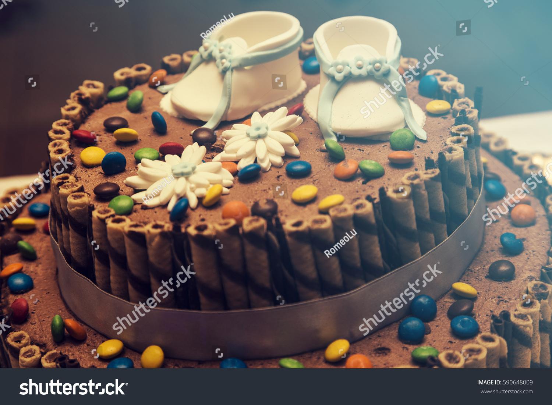 Awesome Chocolate Cake Baby Boy Birthday Cake Stock Photo Edit Now 590648009 Funny Birthday Cards Online Inifodamsfinfo