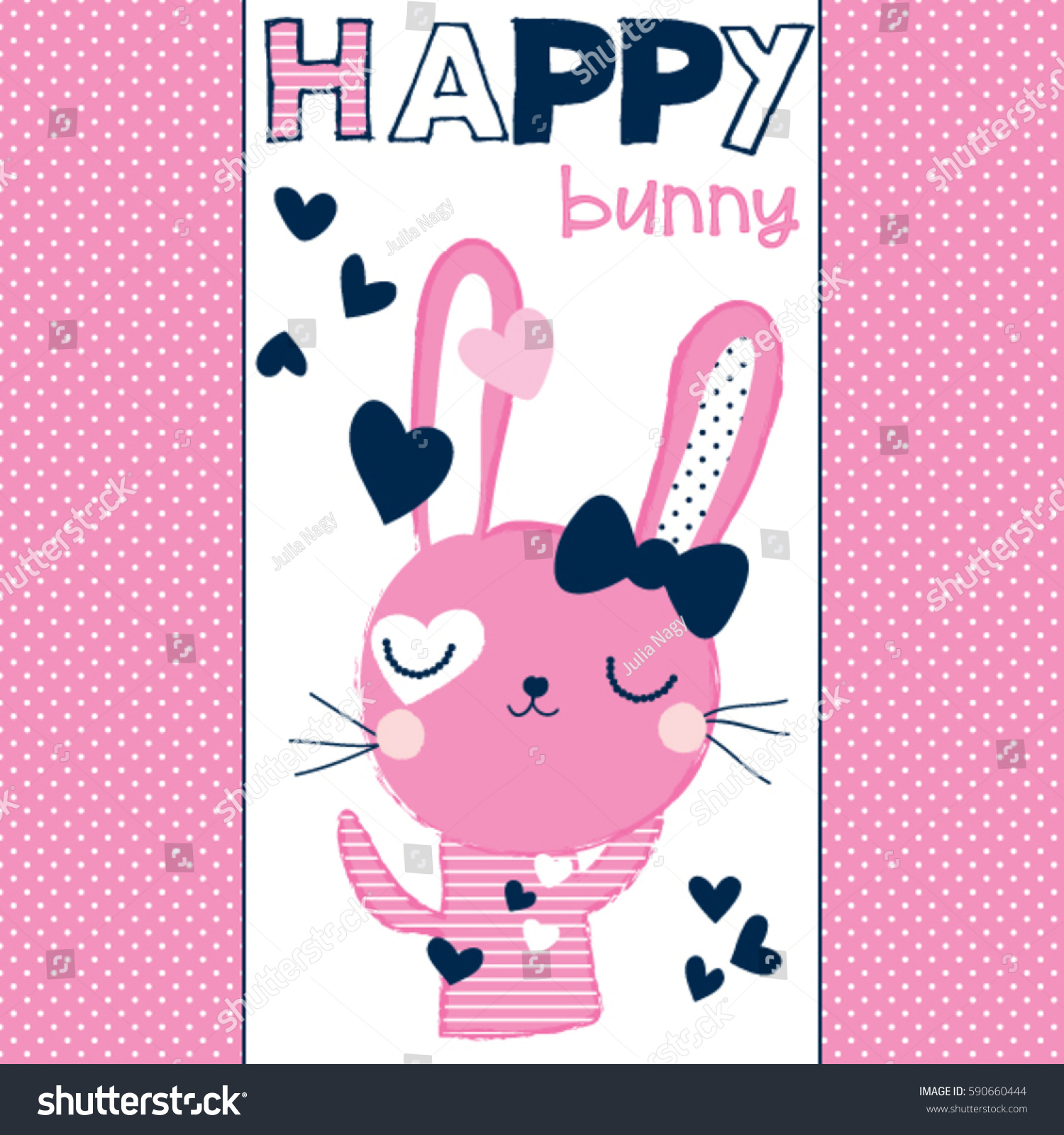 happy easter pattern bunny cute stock vector 590660444