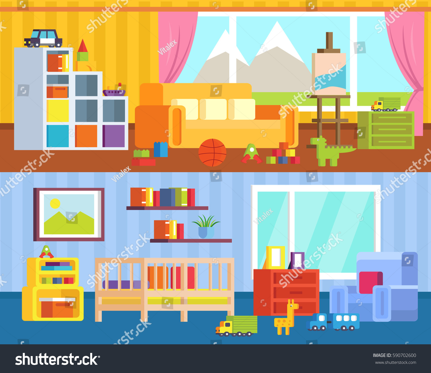 Set Furniture Childrens Rooms Game Room Stock Vector Royalty Free