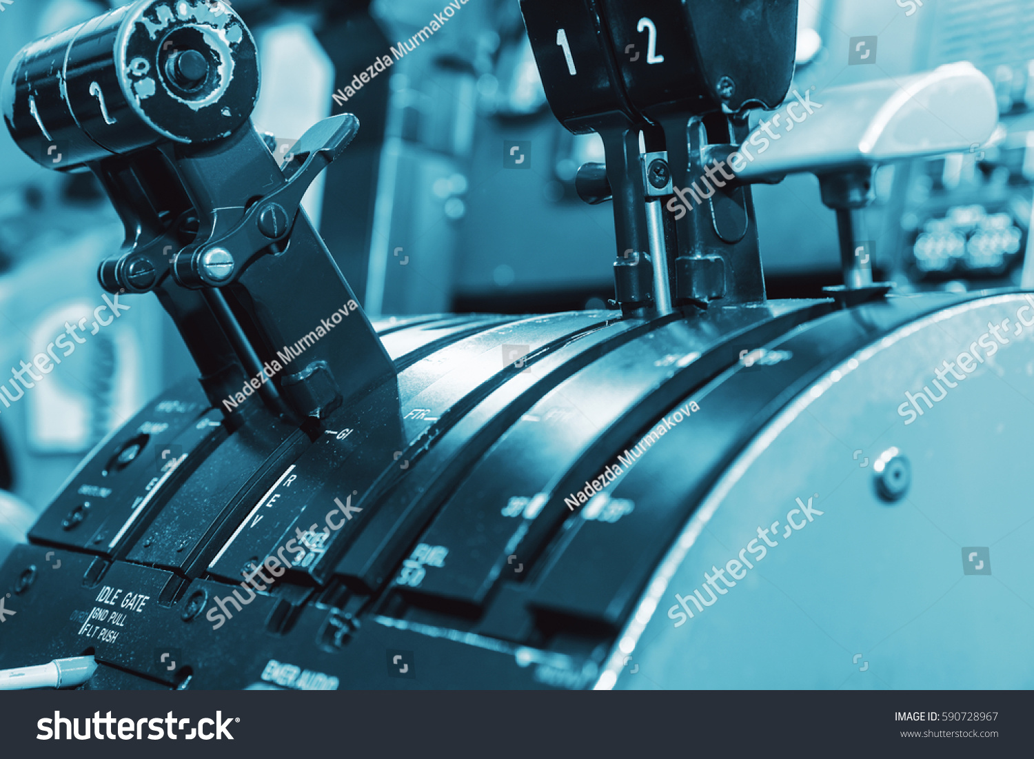 Overhead Aircraft Engine Control Lever : Airplan control stick side pilot cockpit stock photo