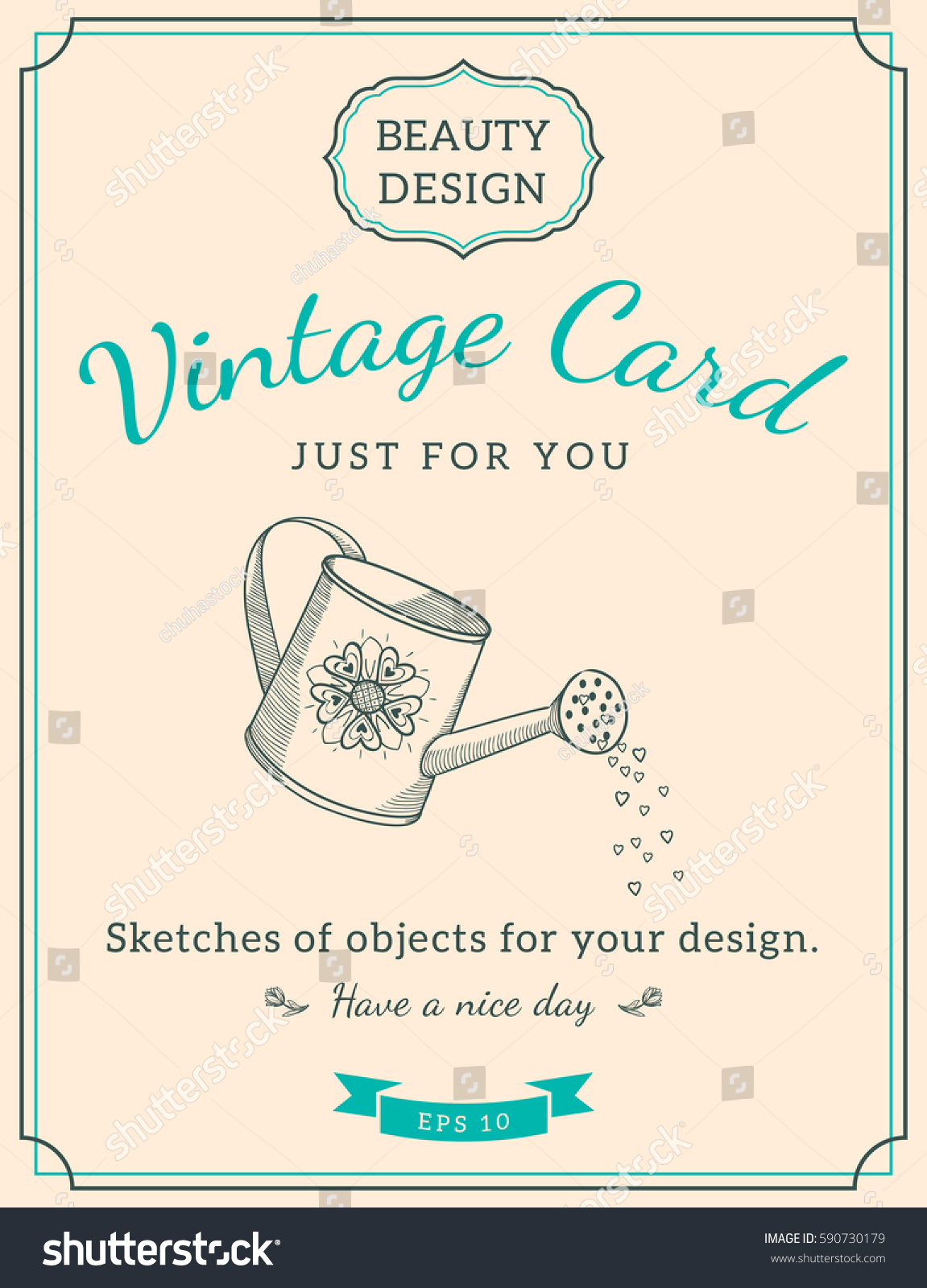 sketch watering can text vintage design stock vector royalty free