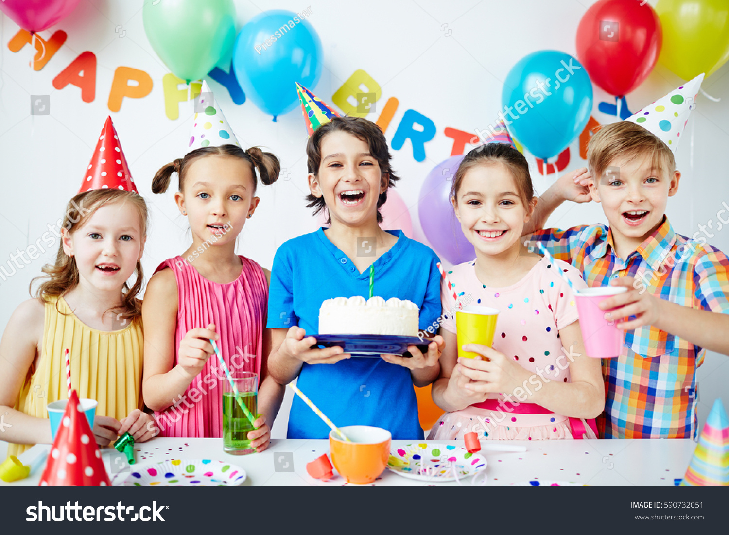 Group Agitated Children Together Posing Birthday Stock