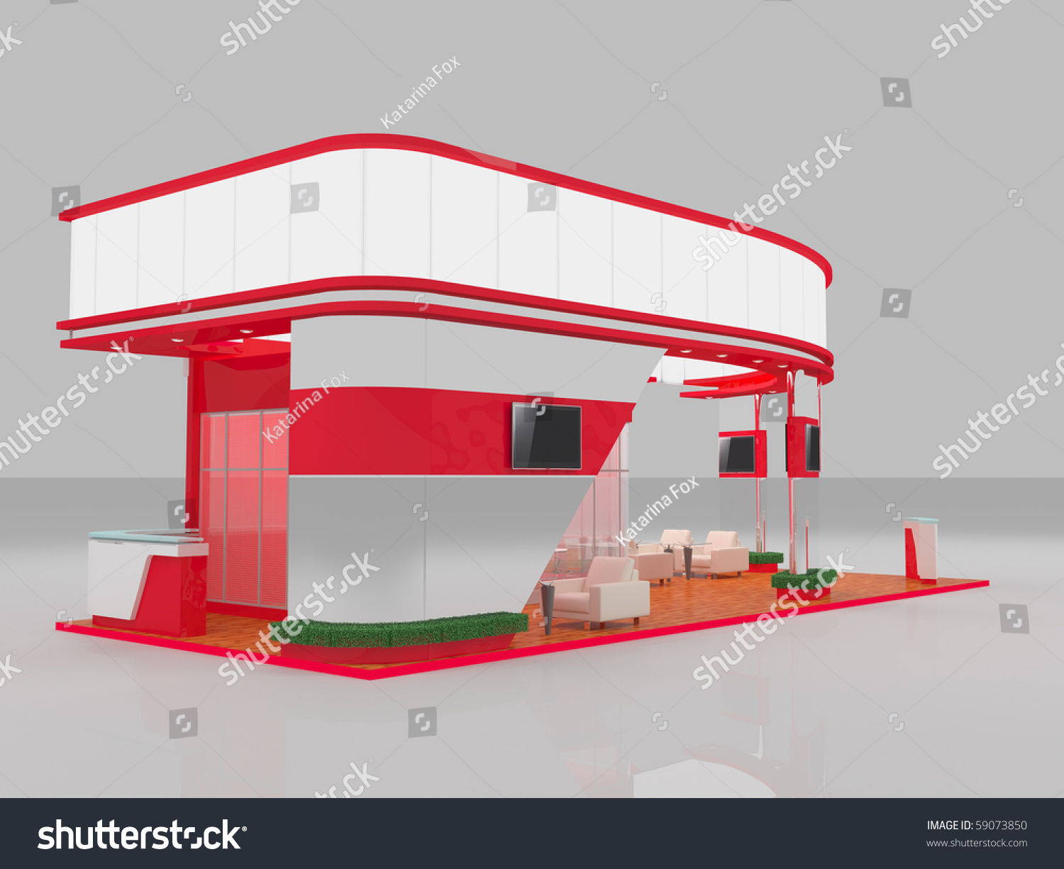 Modern Exhibition Stand Vector : D render of modern red exhibition stand stock photo