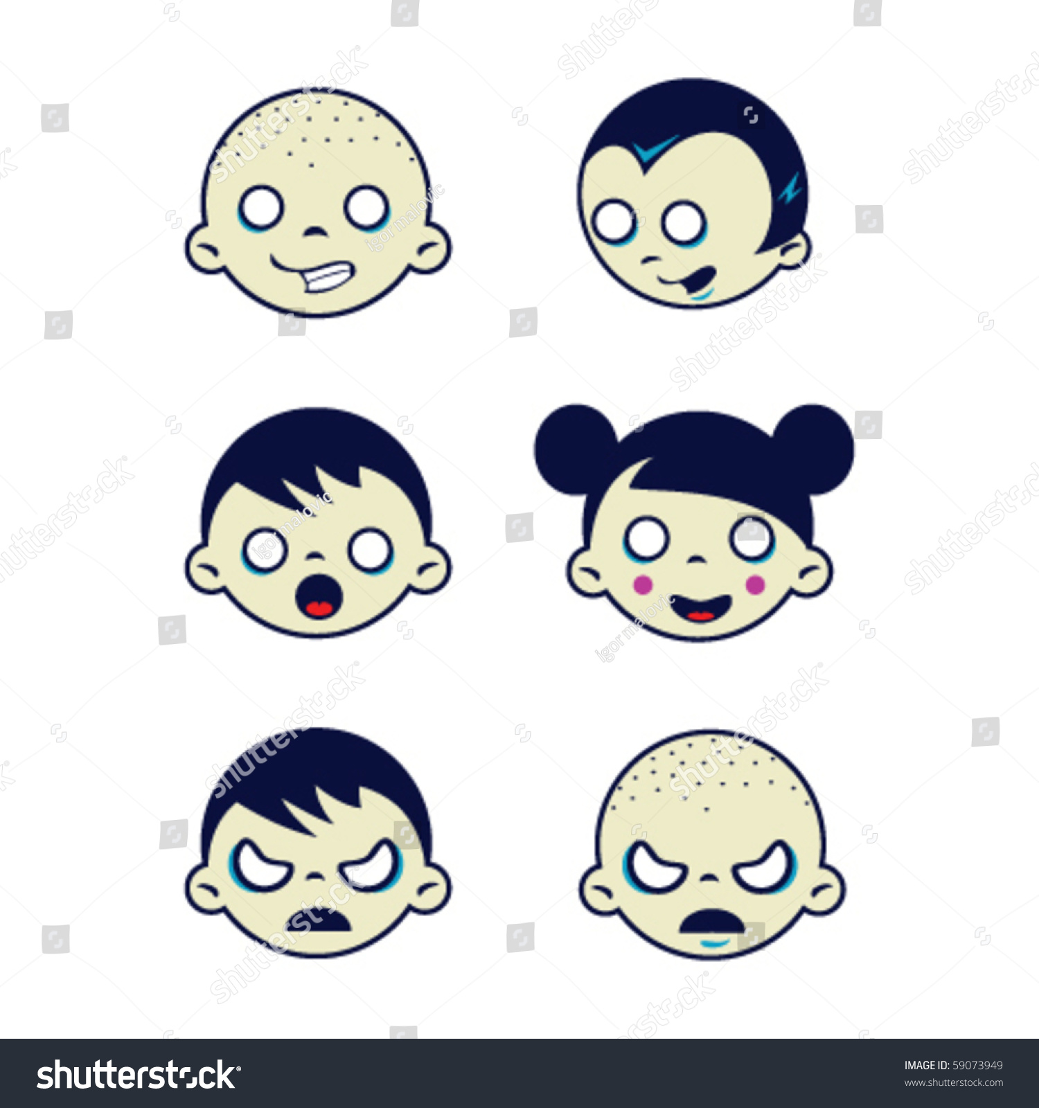 cartoon drawing isolated weird kids faces stock vector royalty free