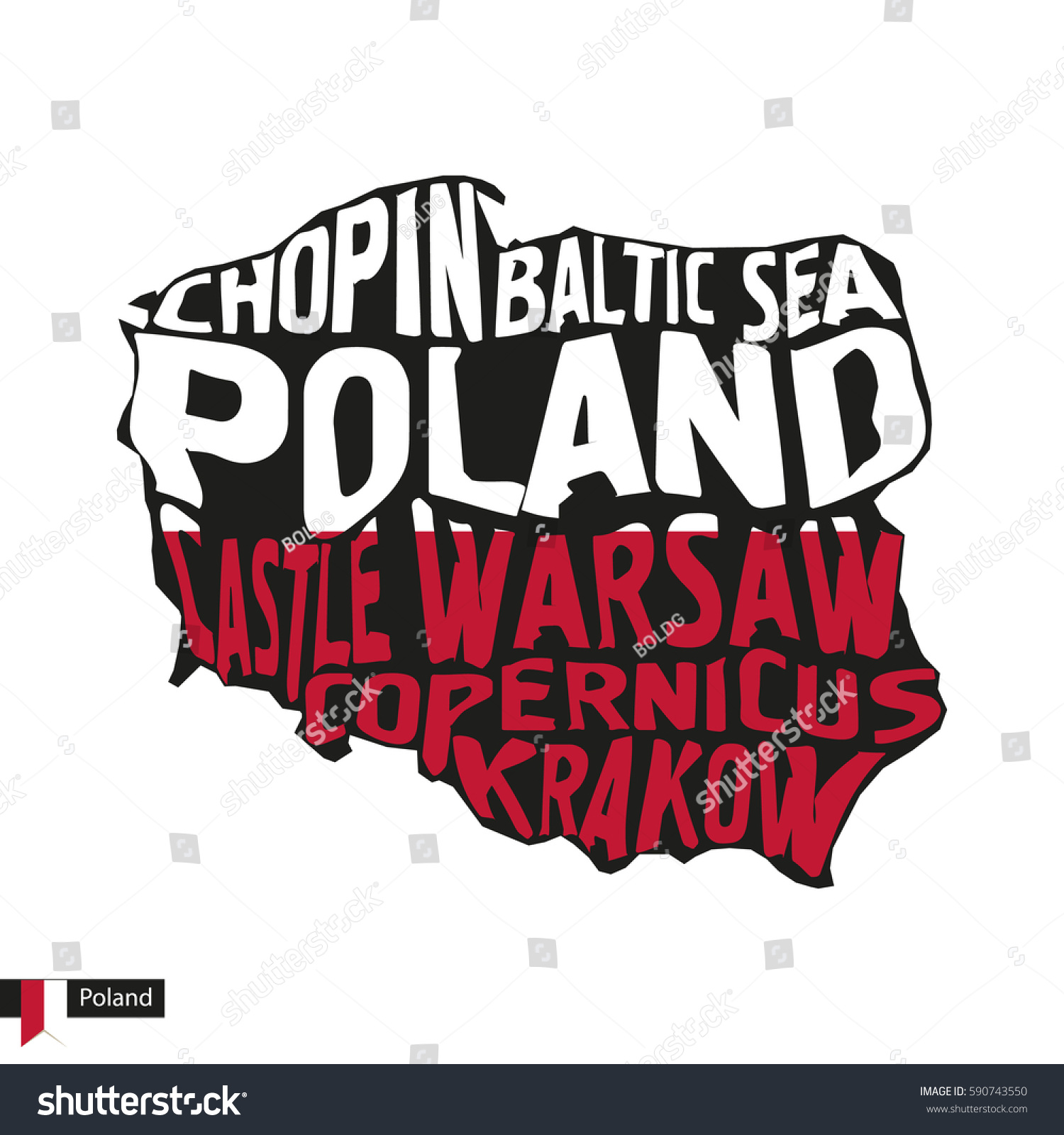 typography map silhouette poland black flag stock vector 590743550