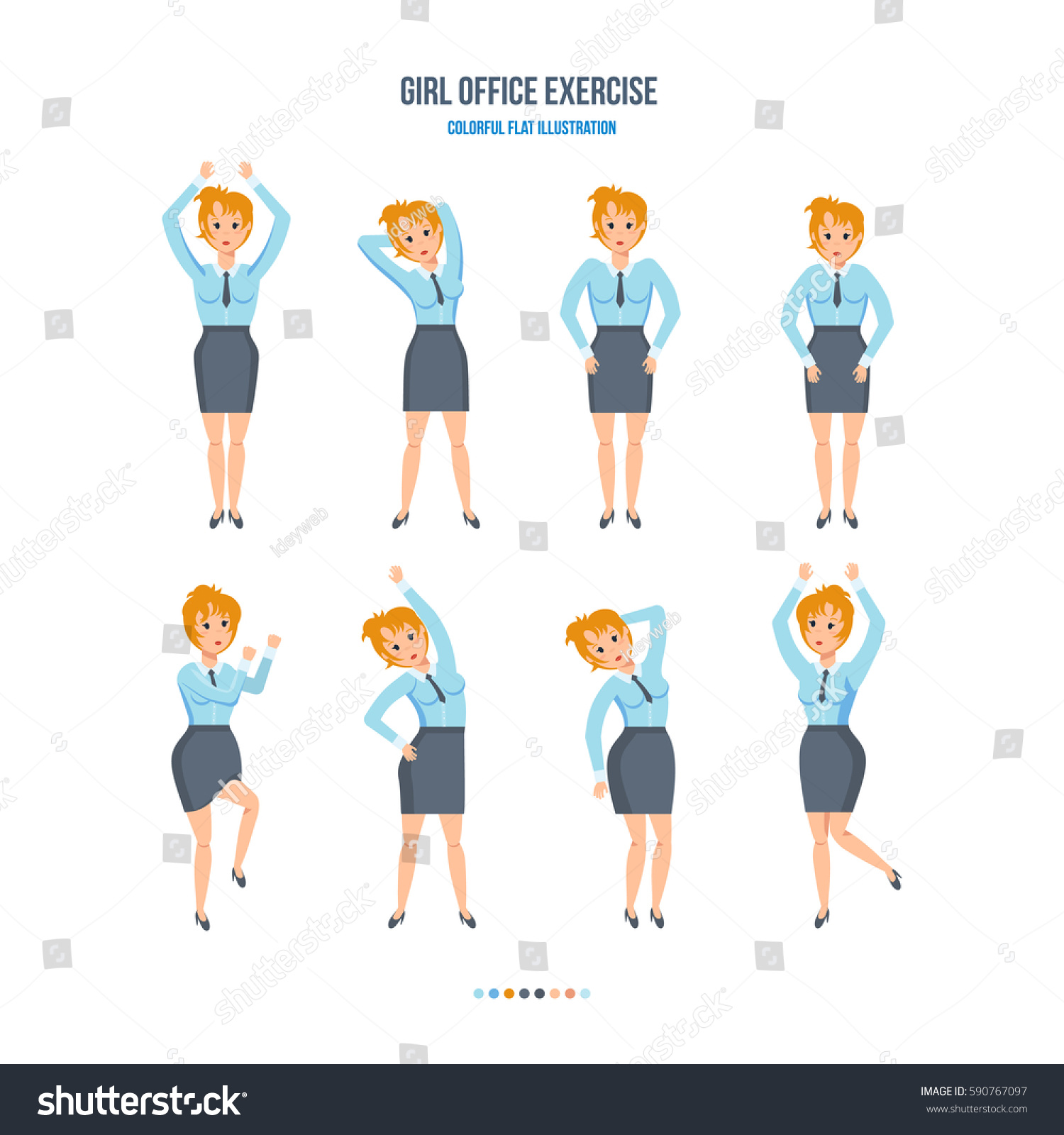 girl office exercise concept girl office stock vector royalty free