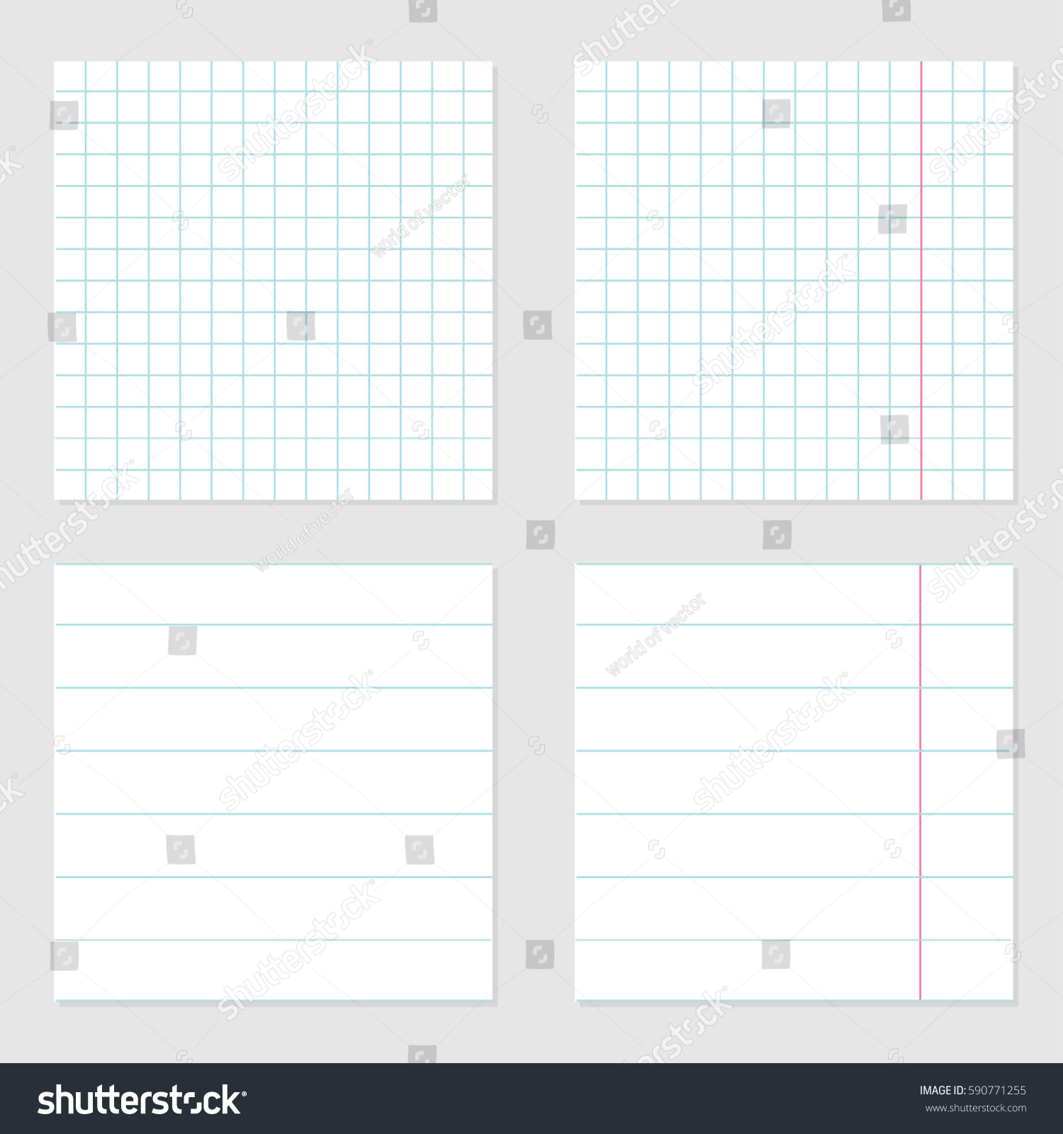 Notebook Paper Texture Cell Lined Template With Red Pink Line Set. Squared  Blank Sheet Of  Lined Notebook Paper Template