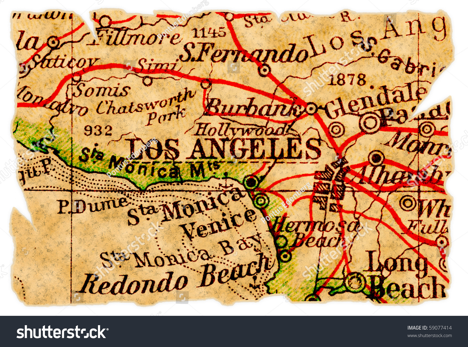 Los Angeles On An Old Torn Map Isolated Part Of The Old Map - Los angeles map vintage