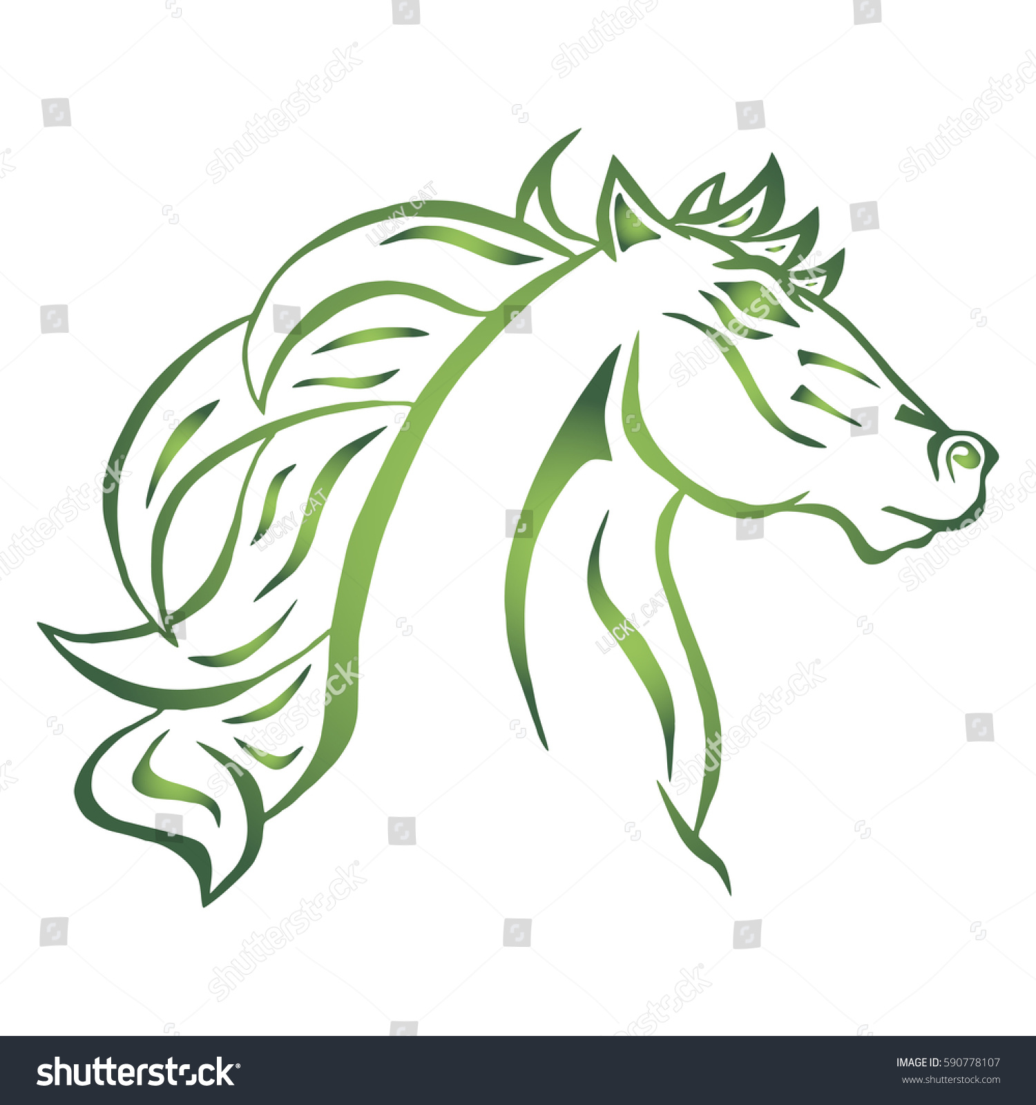 Illustration Hand Drawn Horse Head Tattoo Stock Vector 590778107 ...