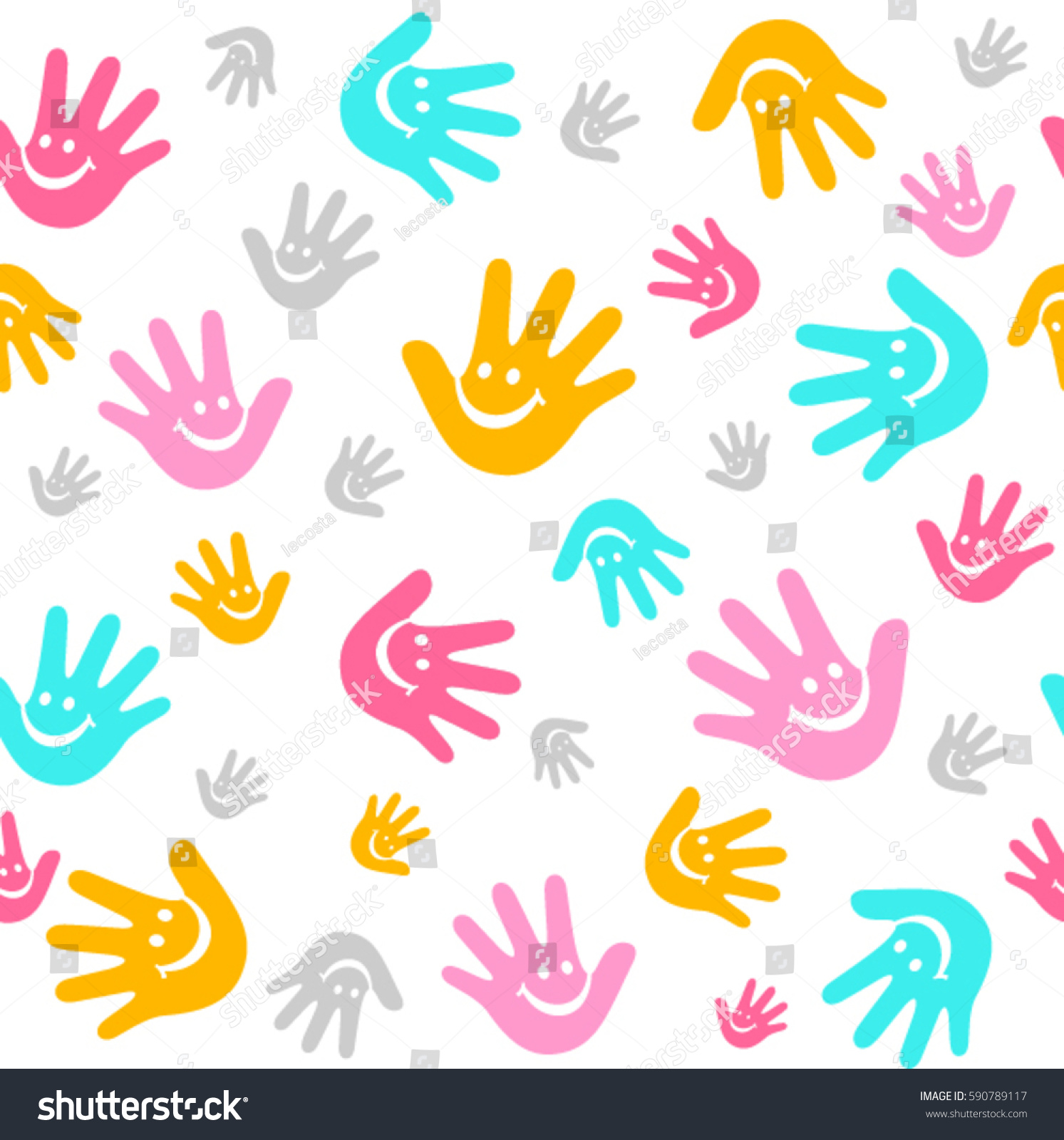 Kids Hand Print Background Stock Vector (Royalty Free) 590789117 ...