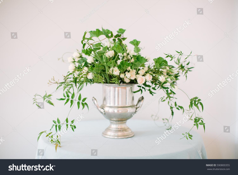 White Green Flower Arrangement Silver Vase Stock Photo Edit Now