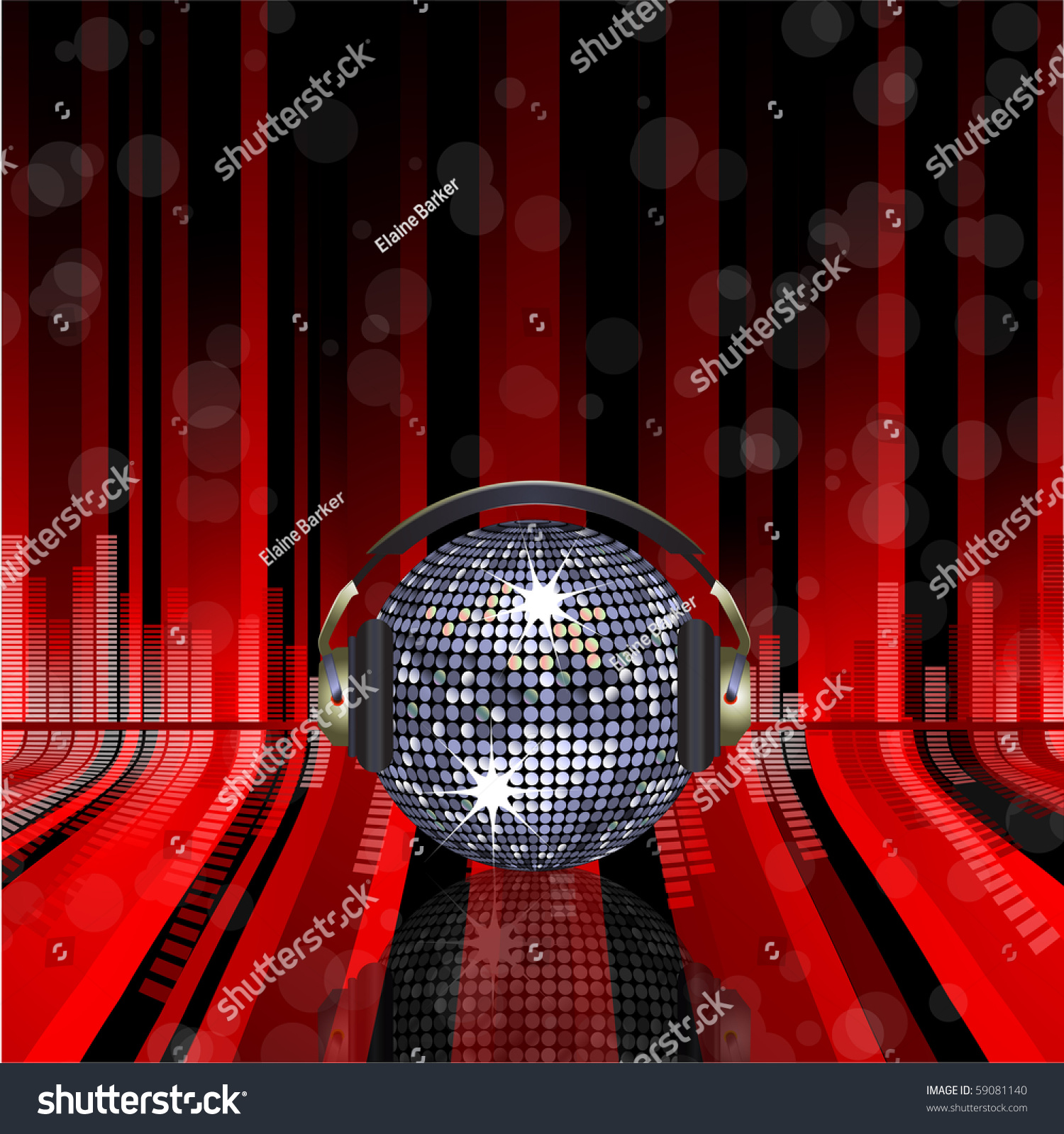 silver discoball headphones on red black stock vector
