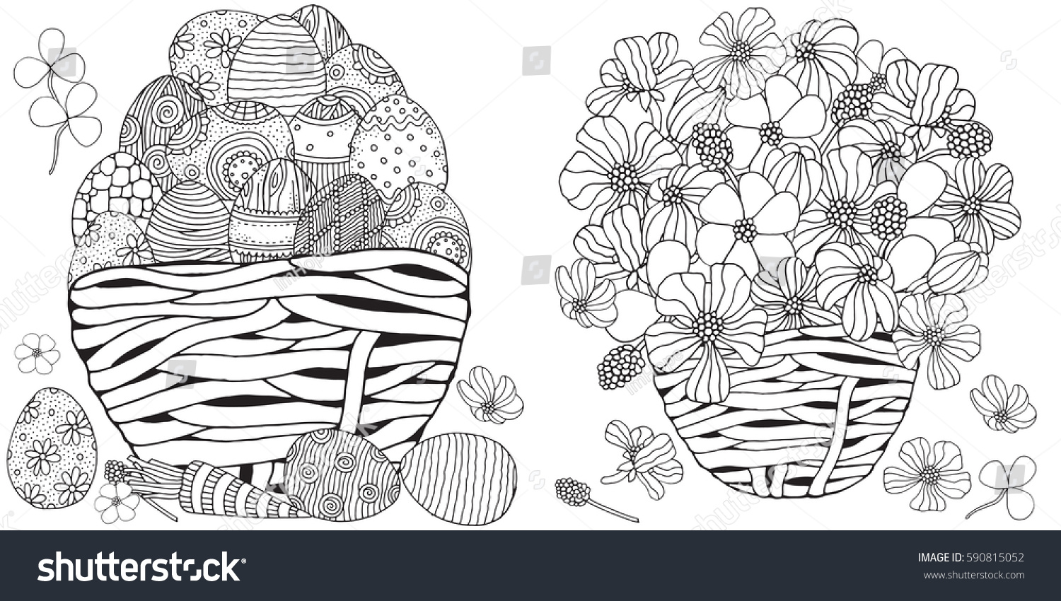 set anti stress coloring book pages stock vector 590815052