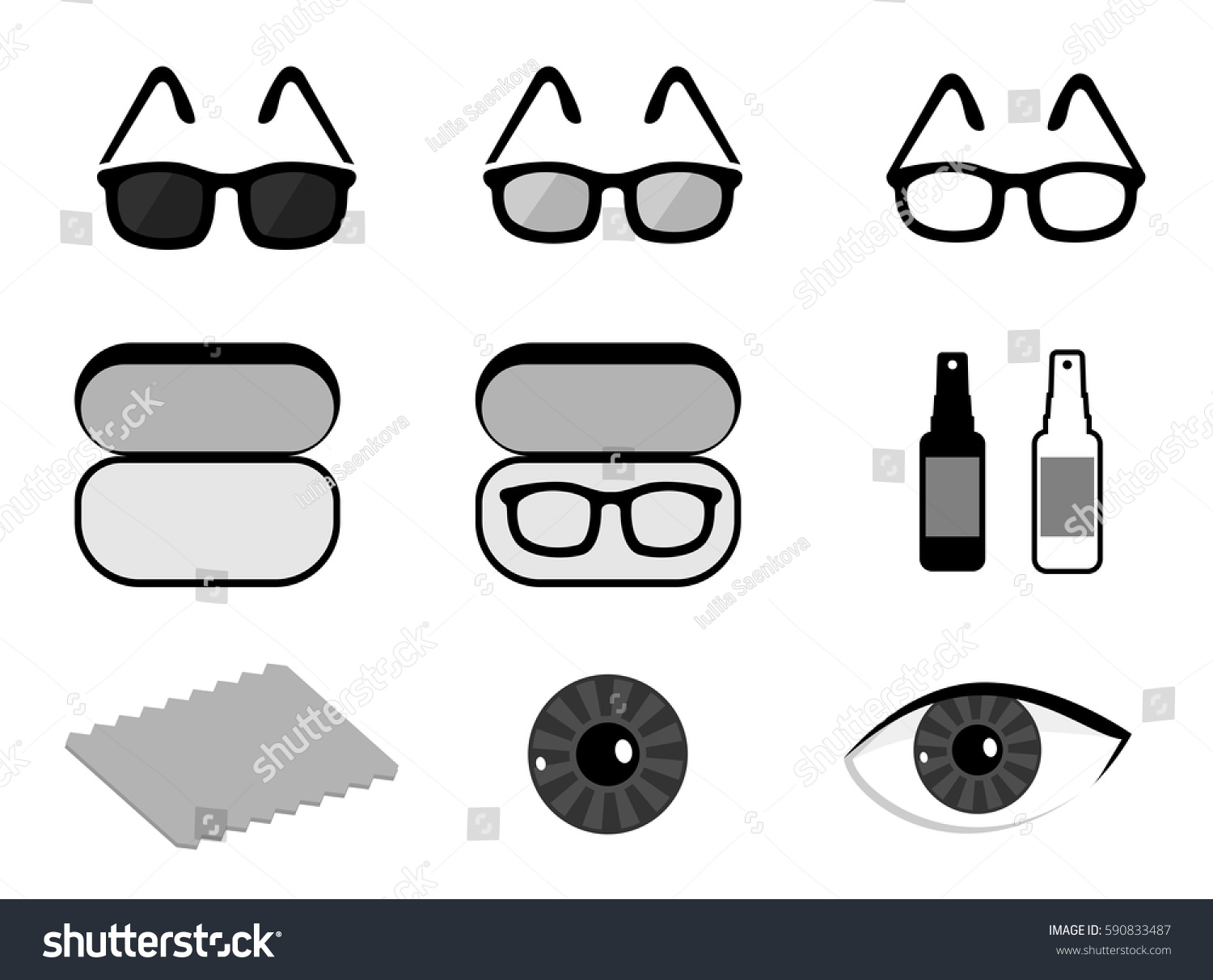 Vector Set Ophthalmology Icons Isolated Sunglasses Stock Vector