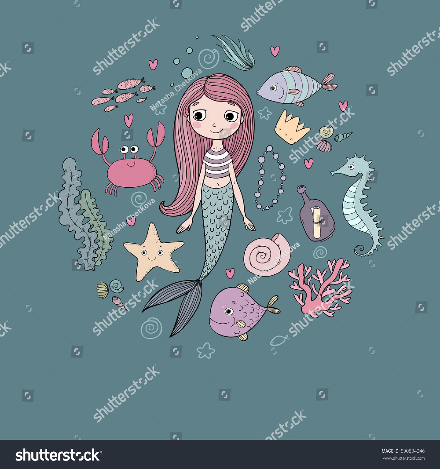 Marine Illustrations Set Little Cute Cartoon Stock Vector