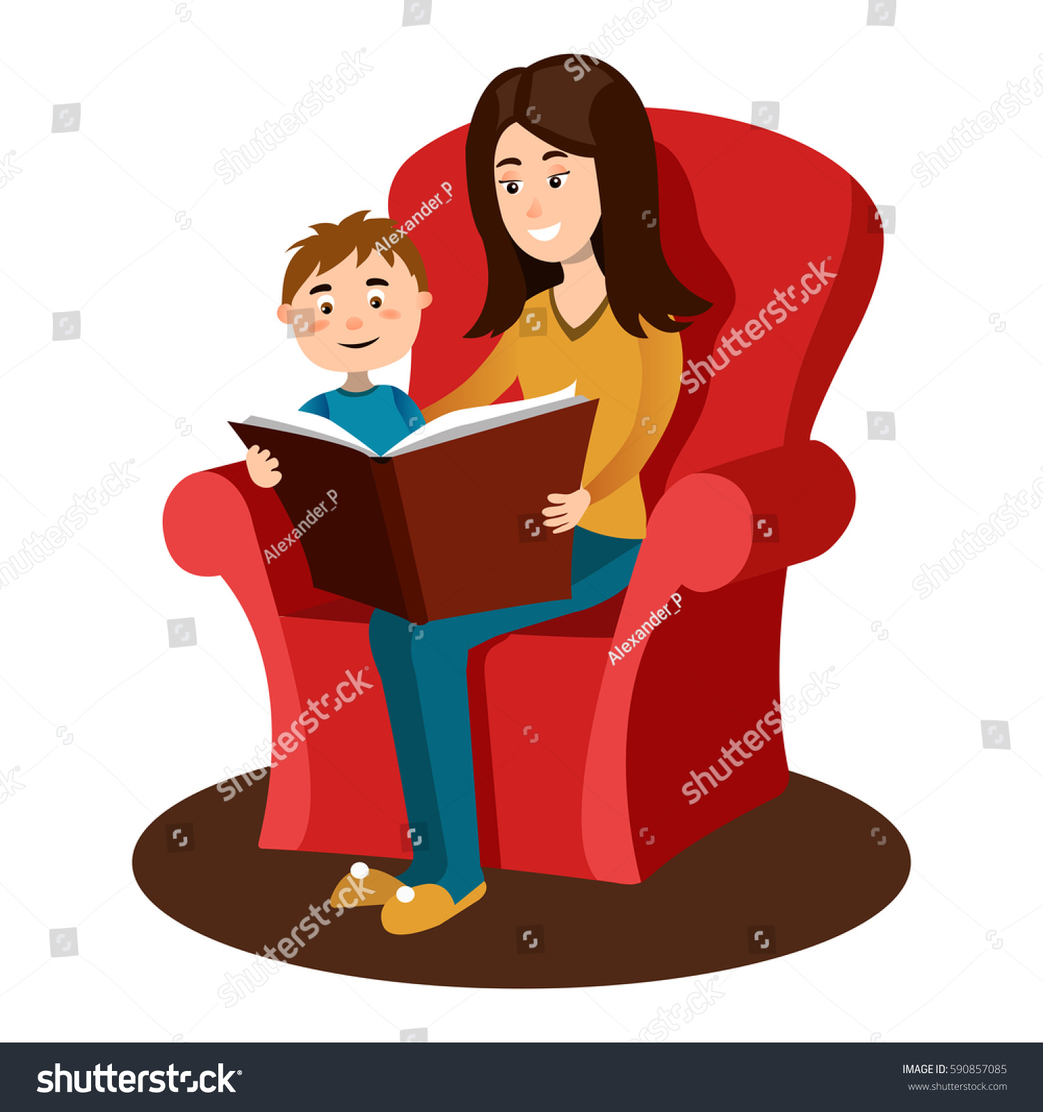Mother Read Book Child Hand Drawn Stock Vector 590857085 - Shutterstock