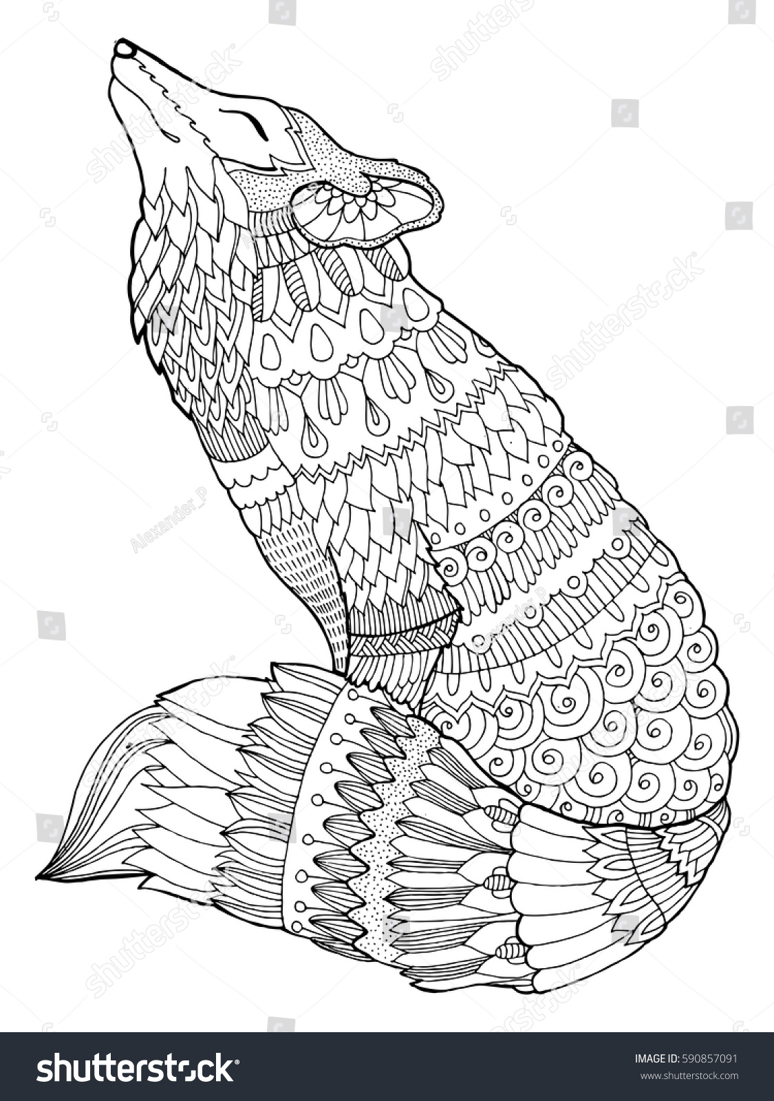 fox coloring book vector illustration black and white lines lace pattern 590857091 - Fox Coloring Book