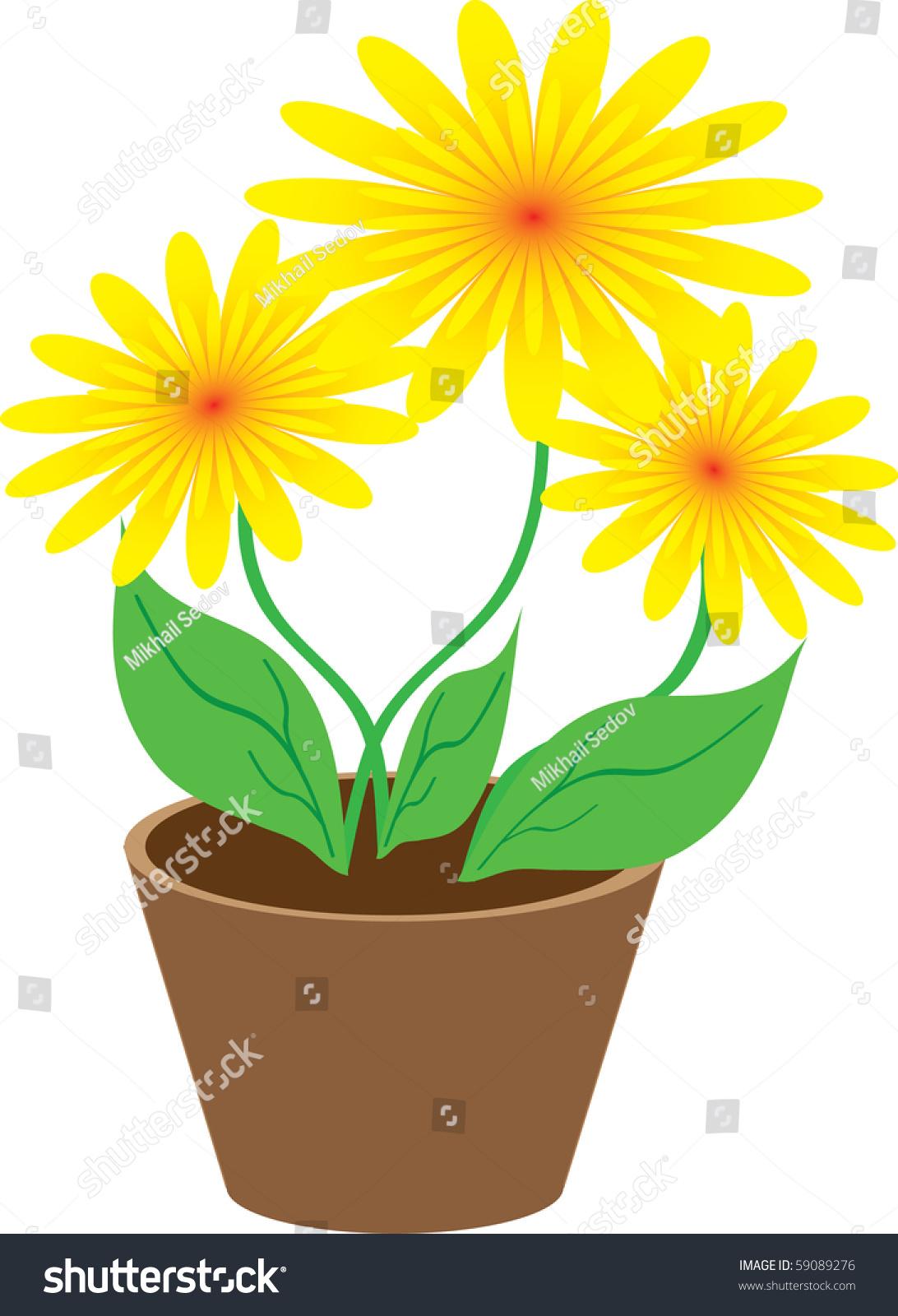 Yellow Flowers Flower Pot Stock Illustration Royalty Free Stock