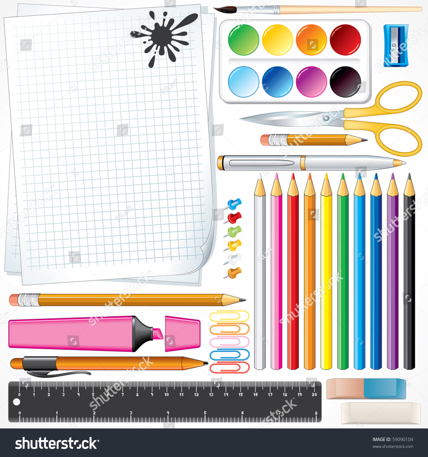 Set Of Vector School Tools And Supplies , All Object And