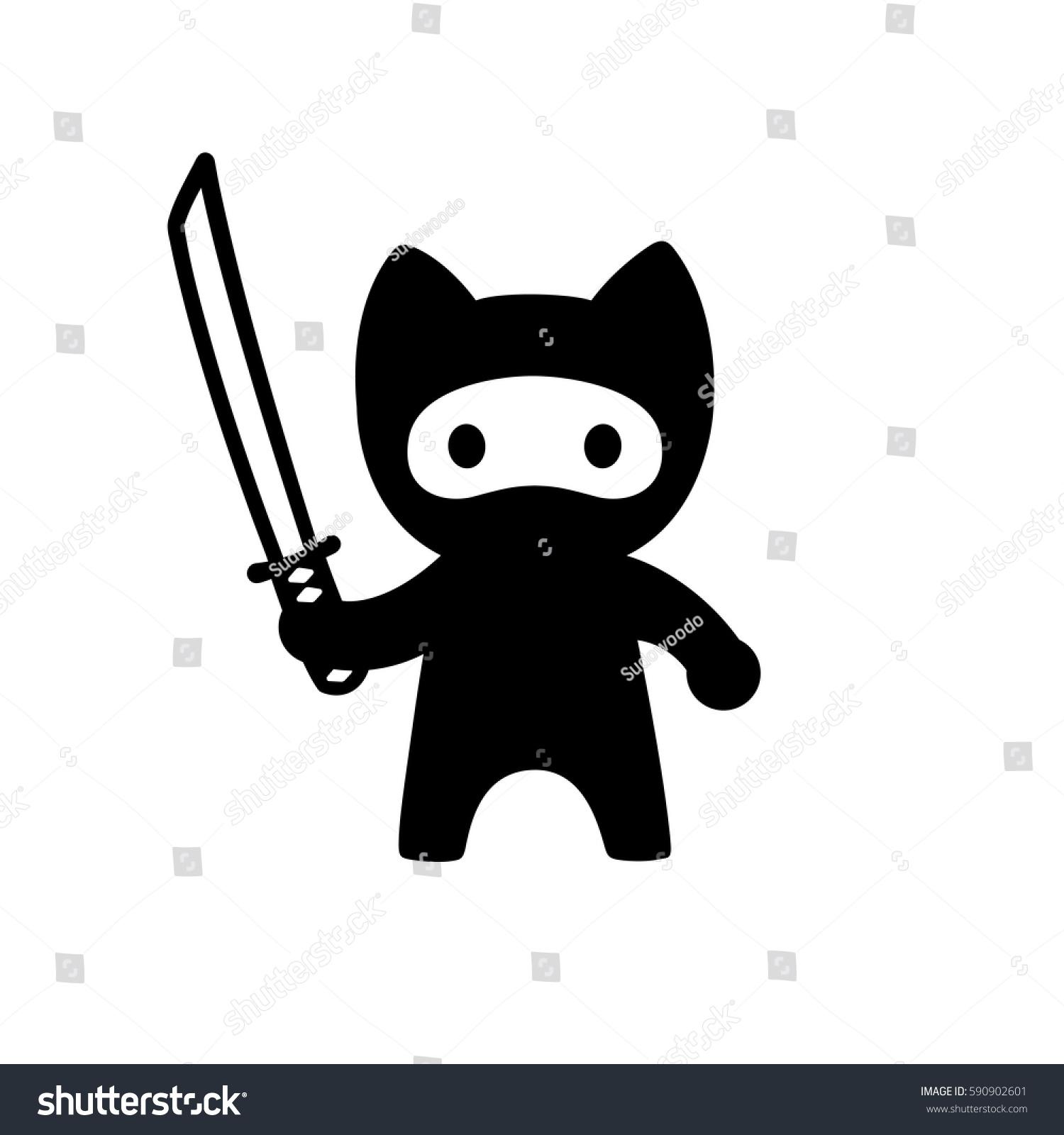 cute cartoon ninja cat sword vector stock vector 590902601
