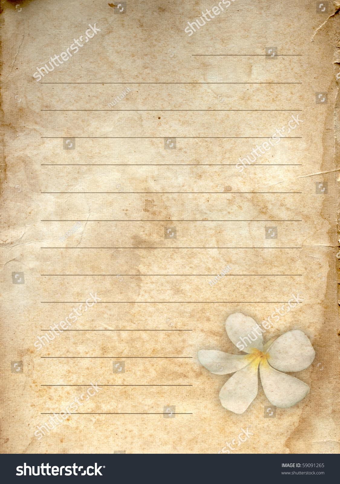 Old Grunge Letter Paper White Flower Stock Photo 59091265
