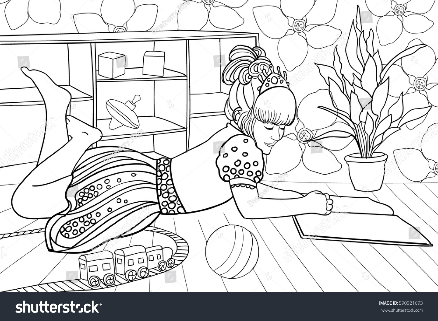 outlinecute coloring page beautiful princess stock vector