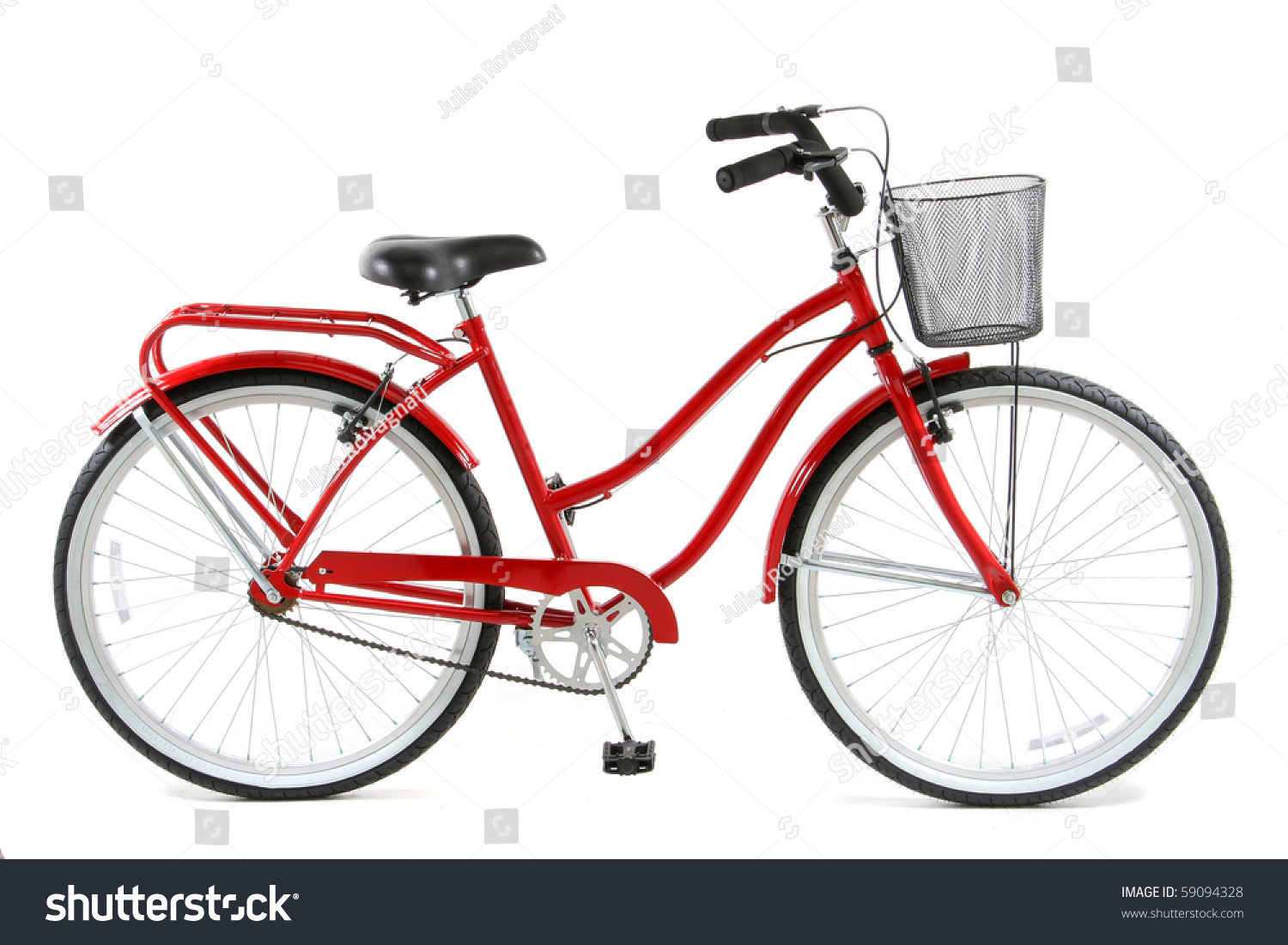 Red Bicycle Over White Background Stock Photo 59094328