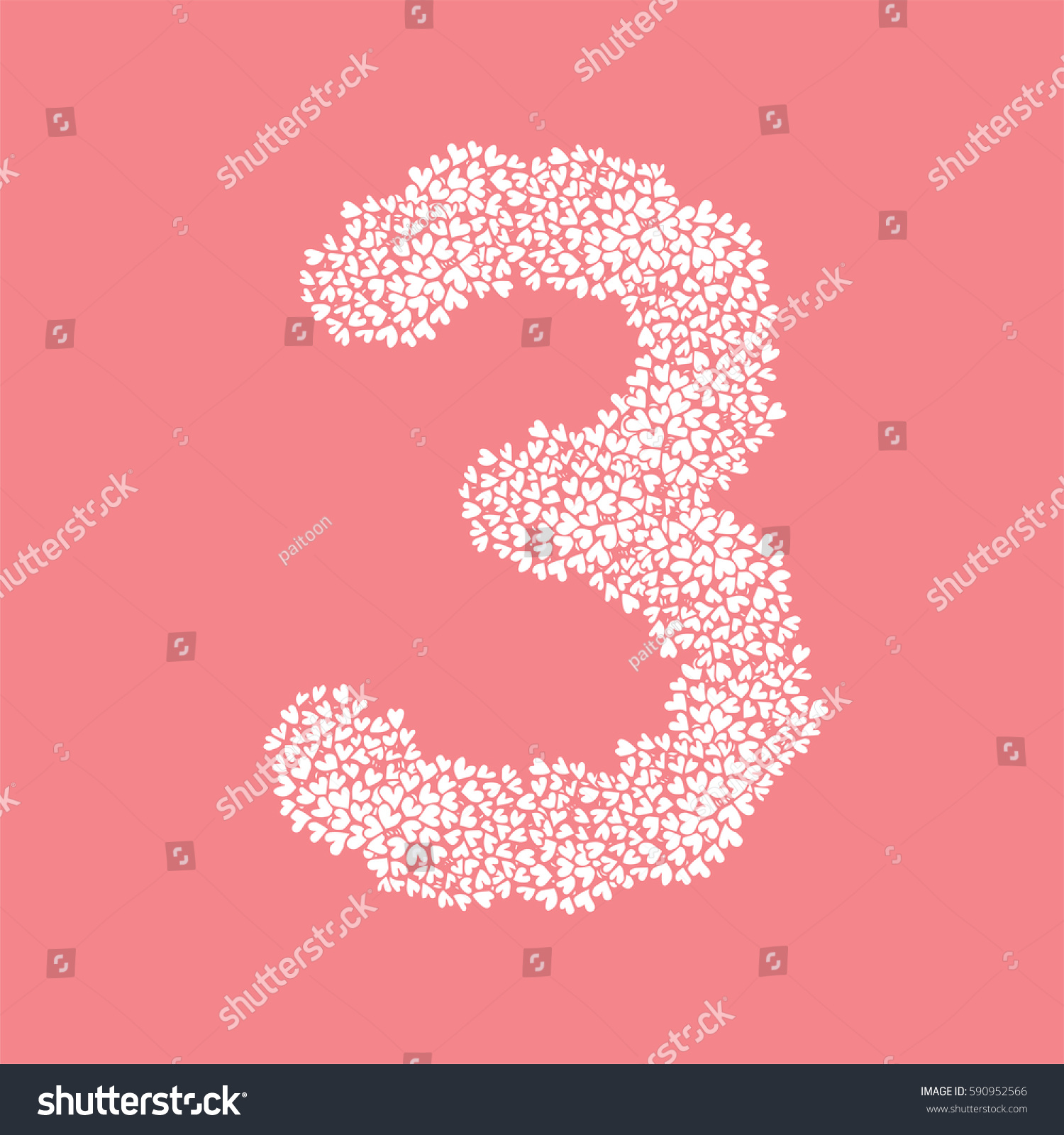 Letter Number Three 3 Alphabet Heart Stock Vector (Royalty Free ...