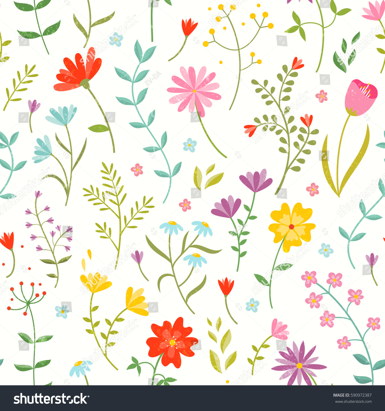 Cute Seamless Floral Print Spring Flowers Stock Vector (Royalty Free ...