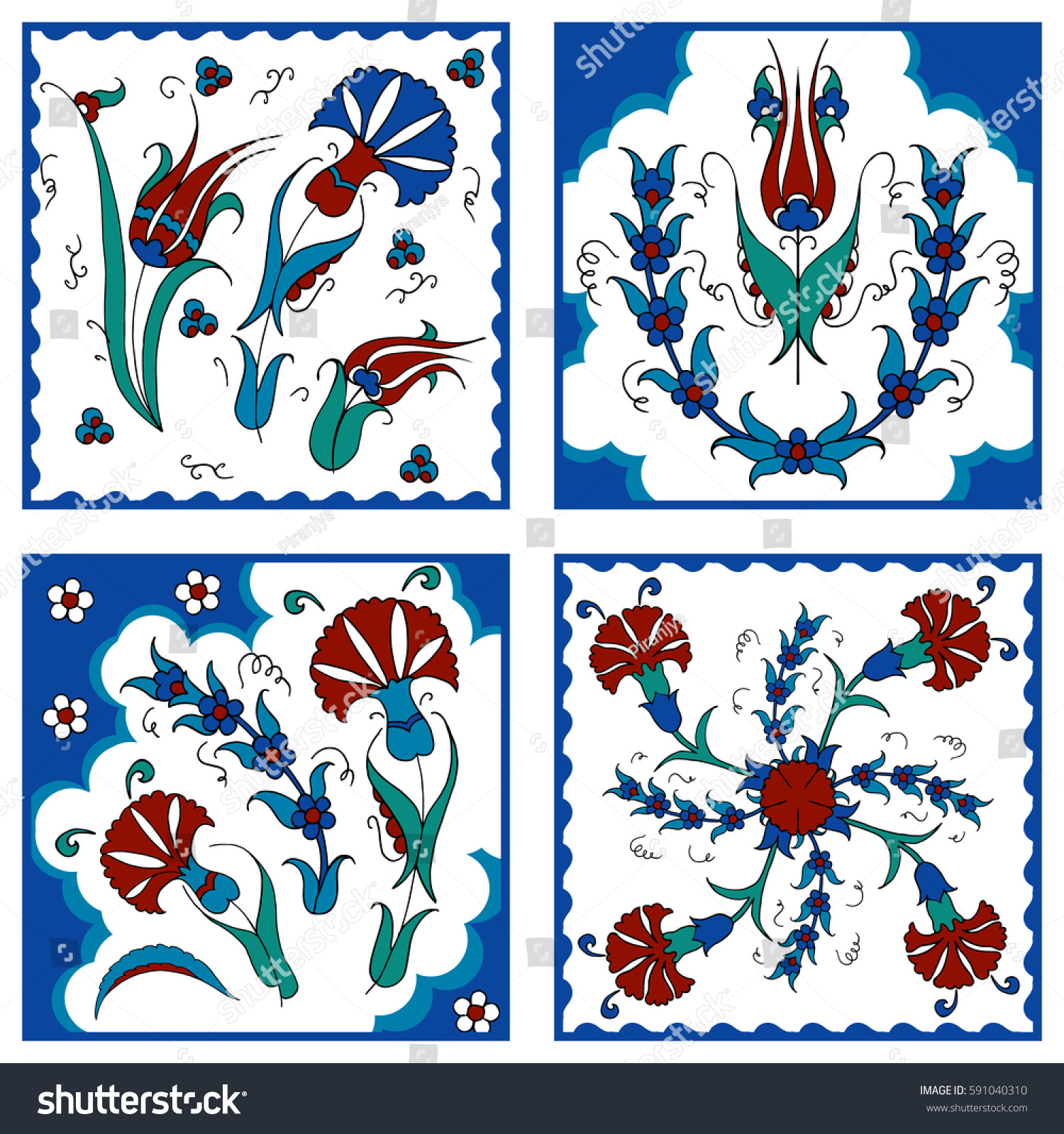 Traditional Turkish Ottoman Red Flower Home Decor Mosaic: Set Turkish Floral Design Turkish Tulip Stock Vector