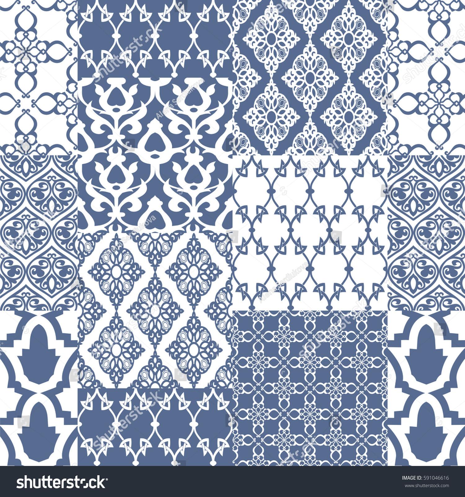 seamless oriental motif blue patchwork background stock vector 591046616 shutterstock. Black Bedroom Furniture Sets. Home Design Ideas