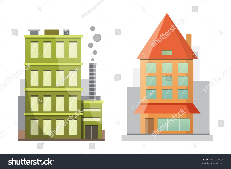 Flat design retro modern city houses stock vector for Retro modern house