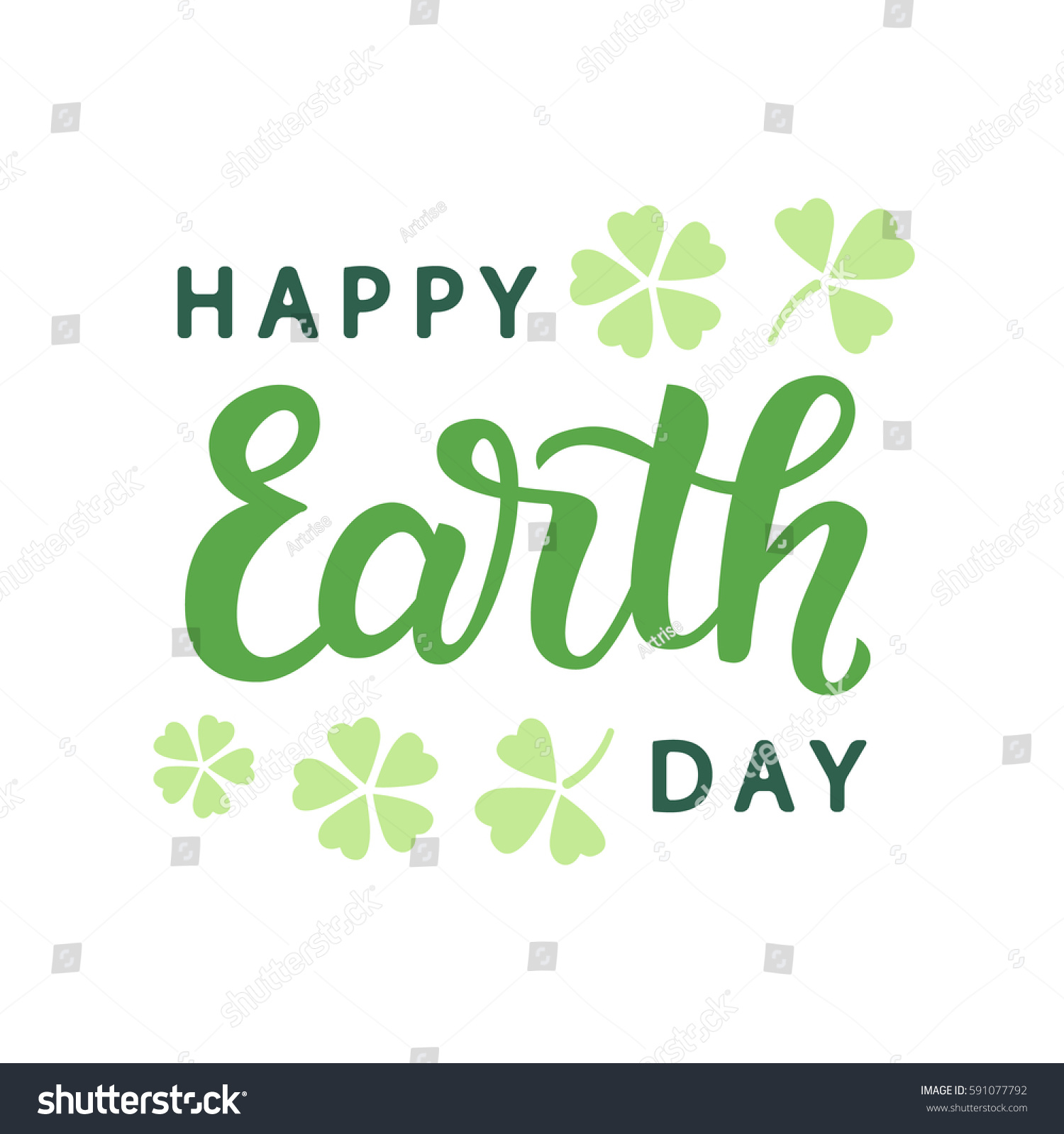 Happy earth day typography poster handwritten stock vector