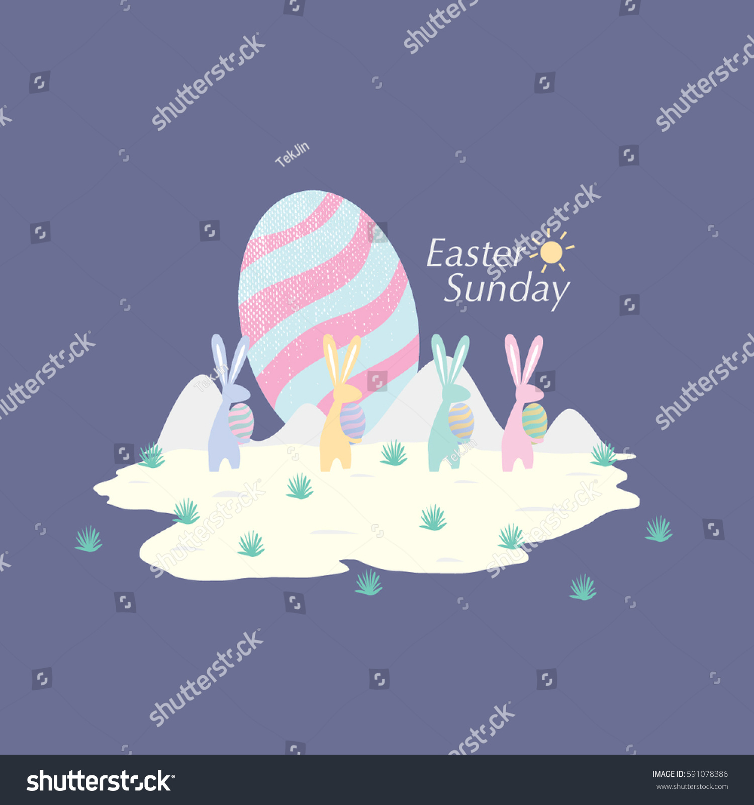 Easter Sunday Greetings Easter Egg Hunt Stock Vector 591078386