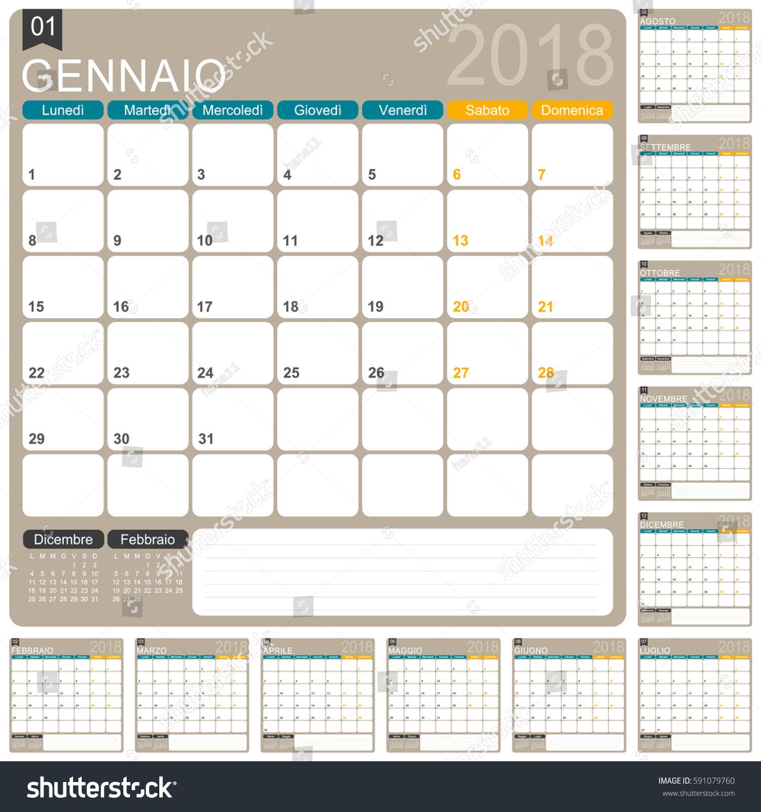 Italian Calendar Template Year 2018 Set Stock Vector