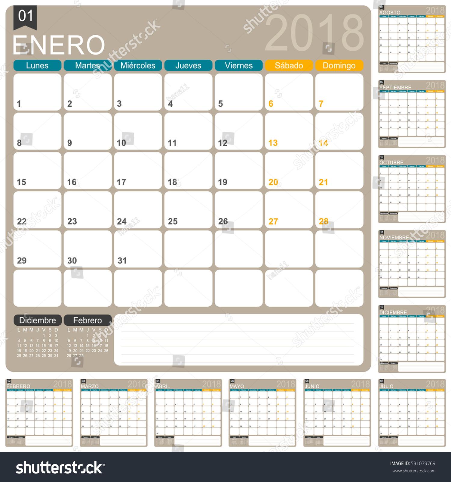 Calendar 2018 Spanish Calendar Template Year Stock Vector 591079769