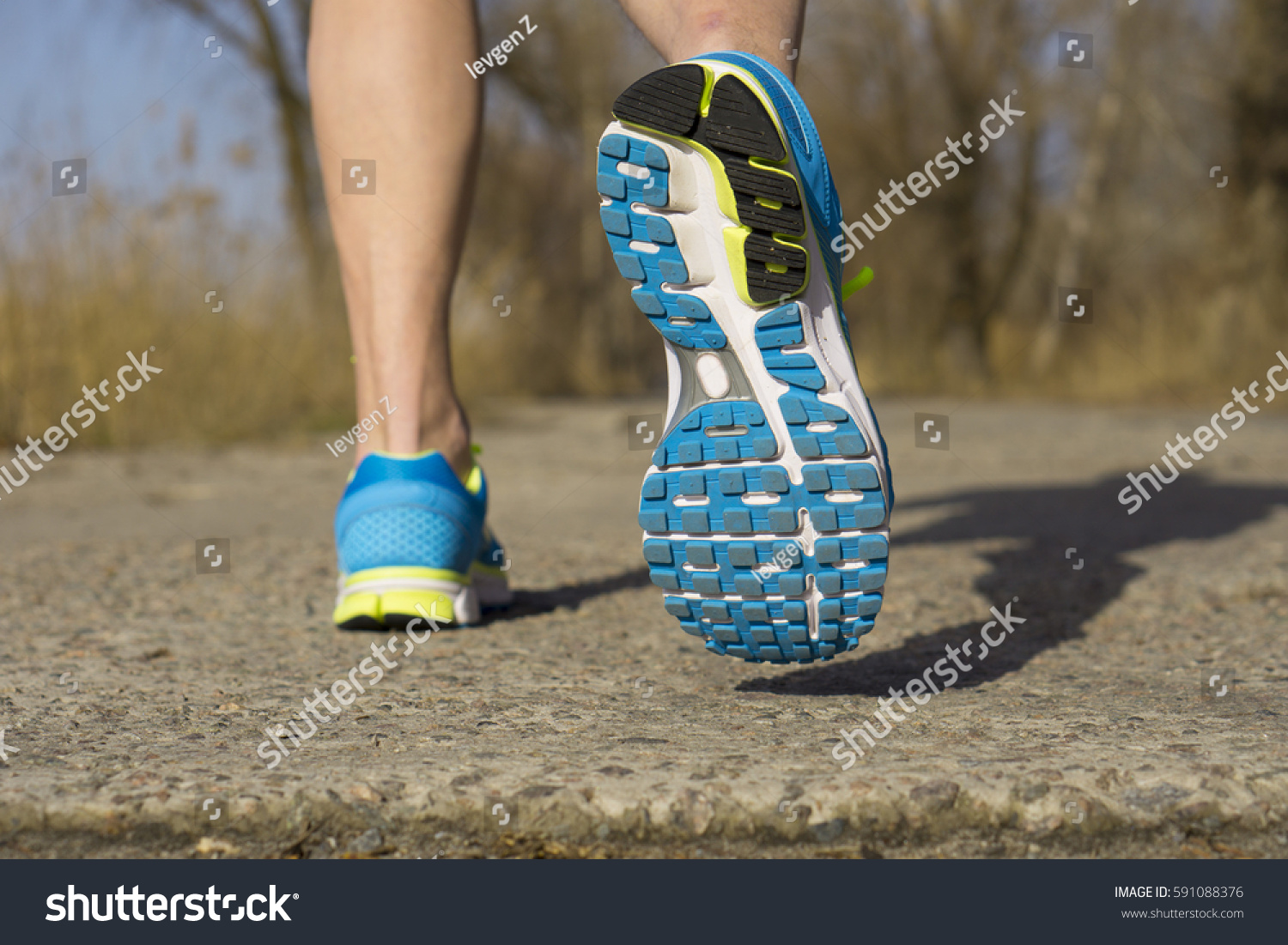 Back View Male Muscular Feet Sneakers Stock Photo Edit Now