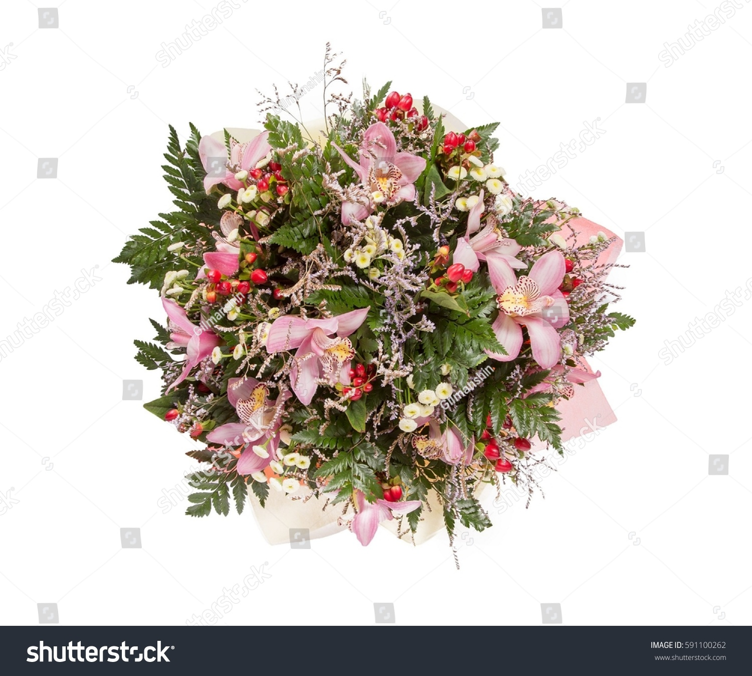 Bouquet Flowers Top View On White Stock Photo (Royalty Free ...