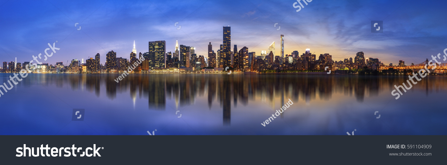 Lower Manhattan skyline. Giant panoramic view USA #591104909