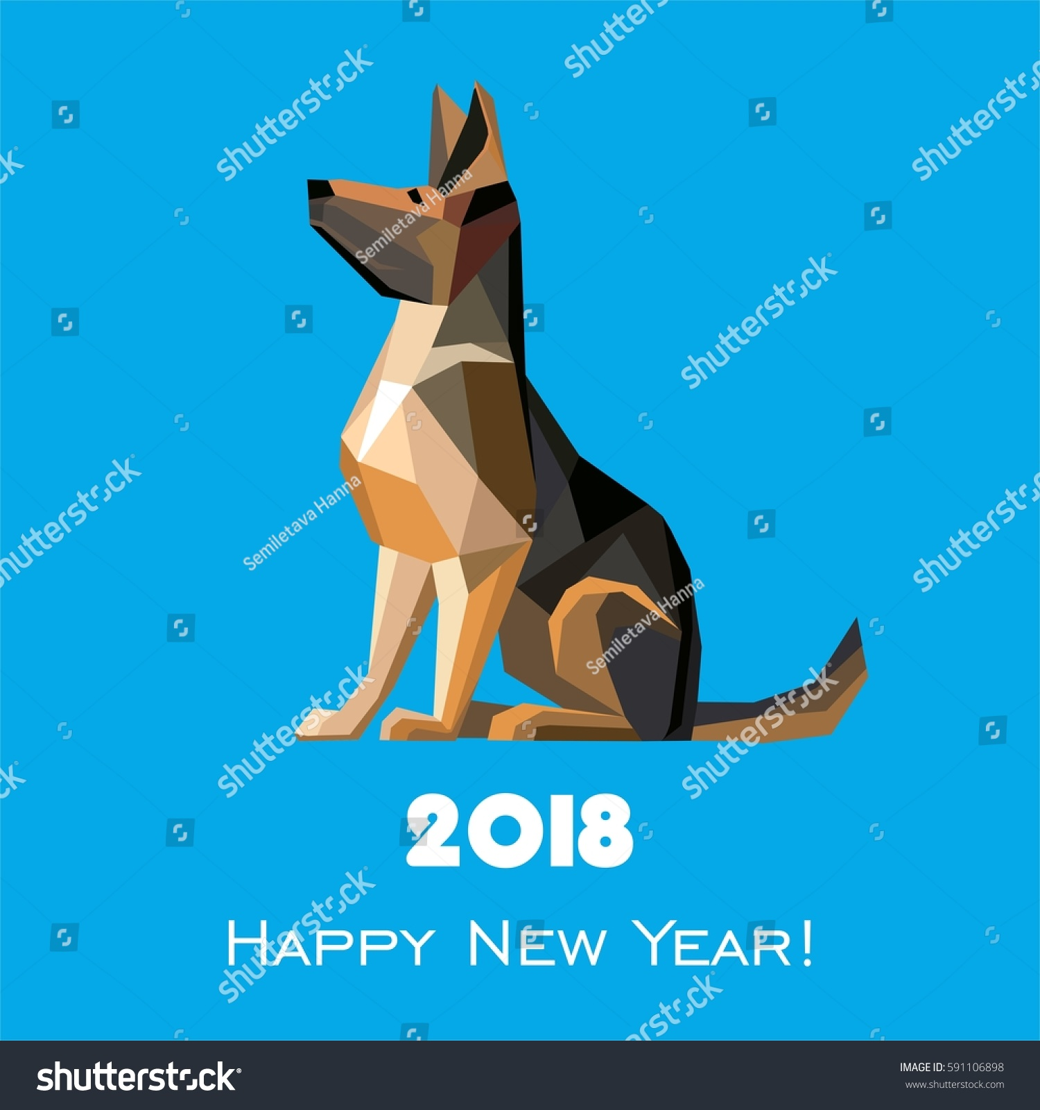 2018 Happy New Year Greeting Card Stock Illustration 591106898