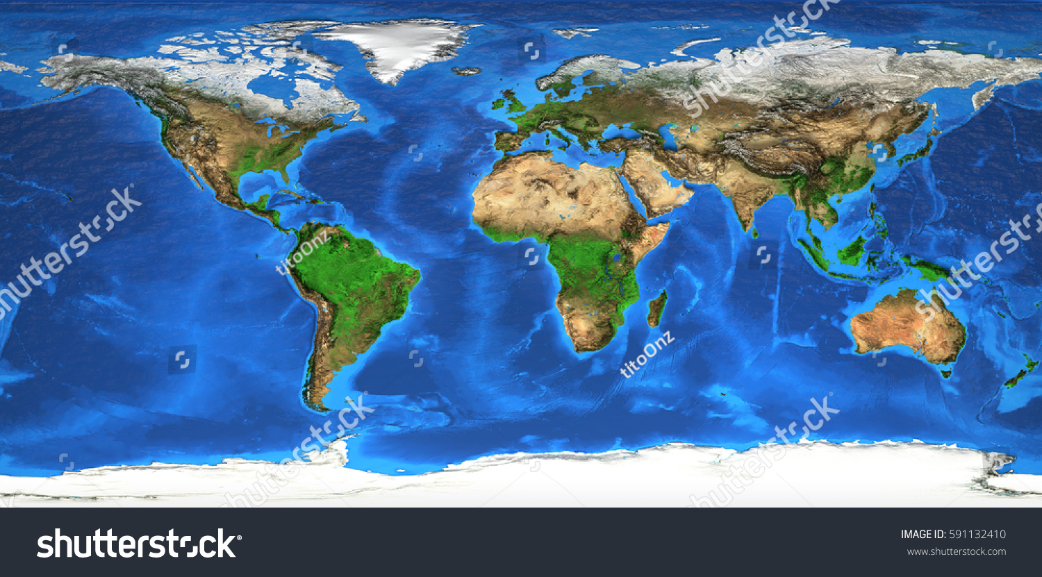 Detailed Satellite View Earth Landforms Global Stock Illustration - Earth map satellite