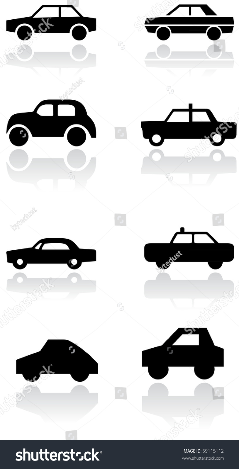 Vector Set Different Car Symbols All Stock Vector 2018 59115112