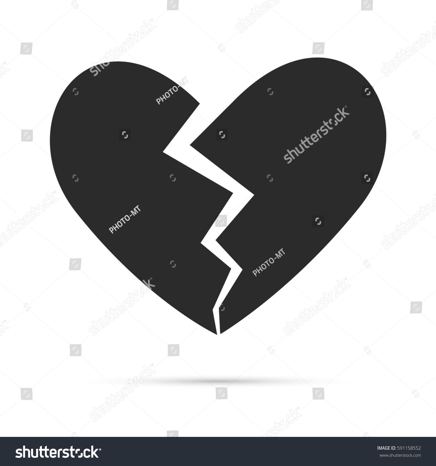 Black broken heart shape vector icon stock vector 591158552 black broken heart shape vector icon simple love symbol isolated on white background with shadow biocorpaavc Images