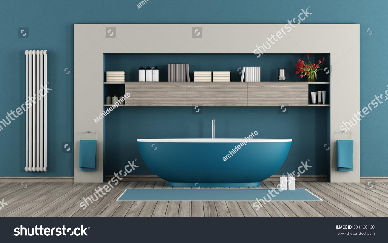 Blue Modern Bathroom Bathtubshelves Vertical Radiator Stock ...