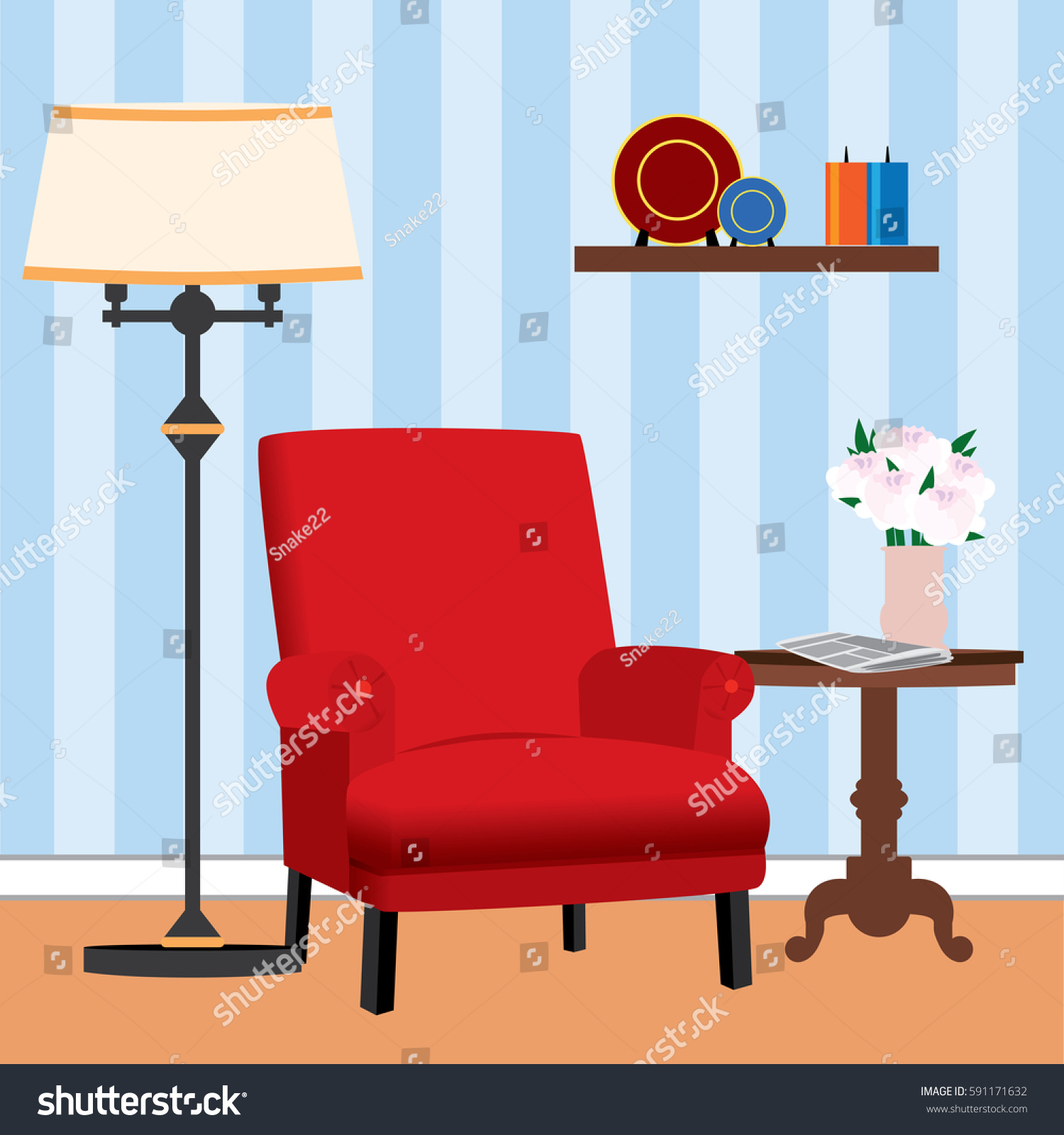 red chair living room next small stock vector 591171632 shutterstock