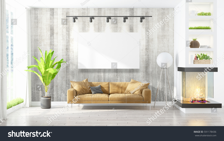 beautiful living room interior mockup poster stock illustration 591178436 shutterstock. Black Bedroom Furniture Sets. Home Design Ideas
