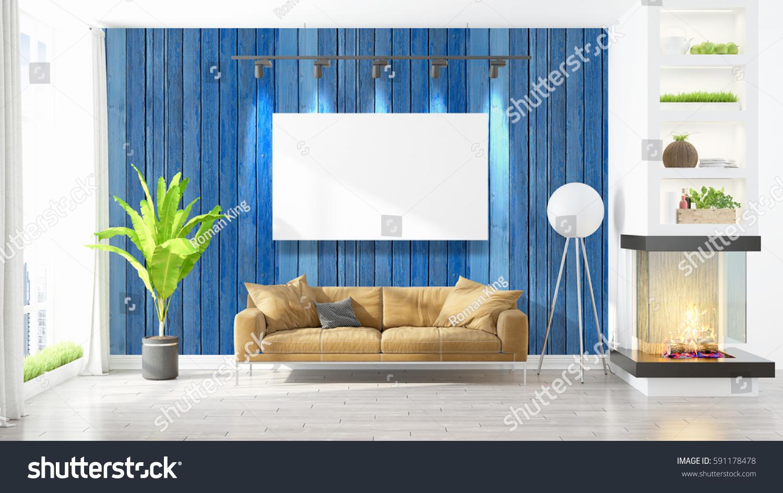 beautiful living room interior mockup poster stock illustration 591178478 shutterstock. Black Bedroom Furniture Sets. Home Design Ideas