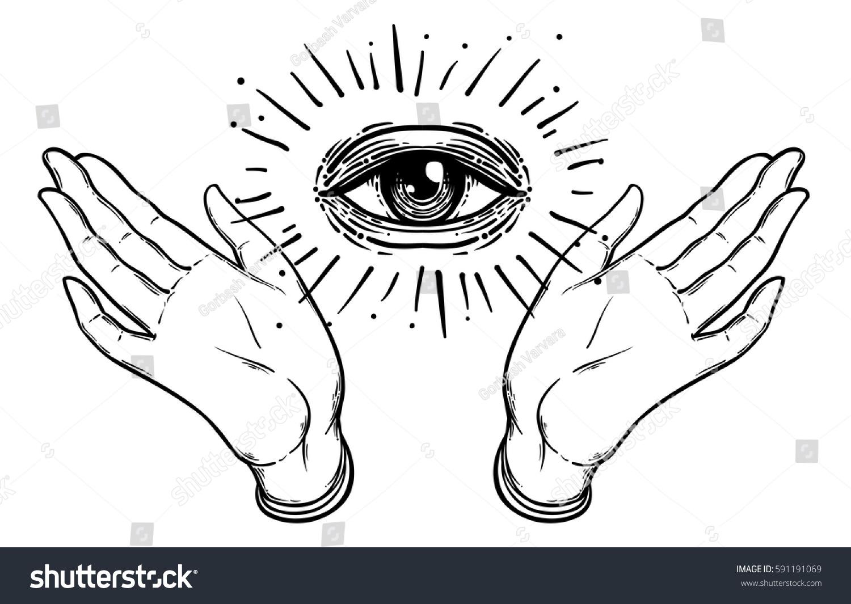 Female hands open around masonic symbol stock vector 591191069 female hands open around masonic symbol new world order hand drawn alchemy buycottarizona Images